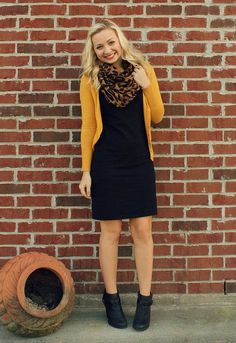 Liven up a little black dress with a mustard cardigan & a fun leopard print scarf. Just add booties for cute look for fall.