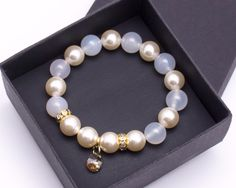 Bracelets – Bracelet women agate pearls Swarovski – a unique product by Blackif on DaWanda