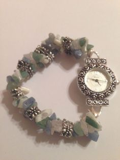 Geneva Semi Precious Stone Chip Stretch Bracelet Watch #Geneva #Fashion
