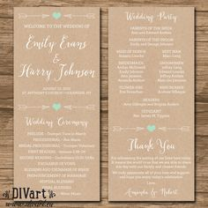 Rustic Wedding Program Ceremony Program PRINTABLE files by DIVart