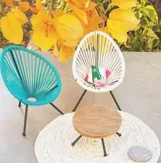 Mini Acapulco Replica Chair Dollhouse Collectable Modern Outdoor Miniature Designer Furniture Dollshouse One Inch Blue Black Pink White Acapulco Chair, Funny Parrots, Shabby Chic Table And Chairs, Our Generation Dolls, Realistic Dolls, Wire Crafts, Chairs For Sale, Mandala Design, Doll Accessories