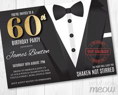 60th Birthday Invite Secret Agent Spy Party Invitation INSTANT DOWNLOAD Detective Editable Bond SIXTY Black Tie Suit Personalize Printable