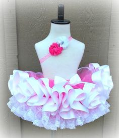 Pink and White Ribbon and Lace trimmed Tutu by CutieCakesTutus