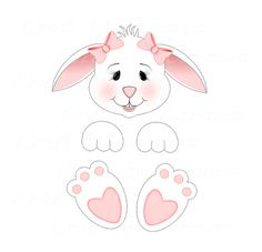 Bunny clip art clipartcute bunniesscrapbookdigital artgraphic design (personal & small business use). Easter Art, Easter Crafts, Holiday Crafts, Crafts For Kids, Easter Bunny Colouring, Felt Doll Patterns, Easter Printables, Easter Templates, Bunny Face