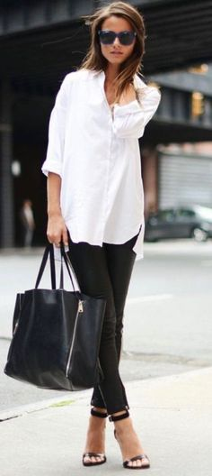 summer outfits  White Blouse + Black Skinny Pants