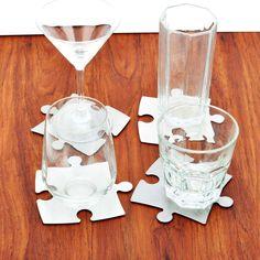 4 Untersetzer aus Metall in Puzzleteil-Form