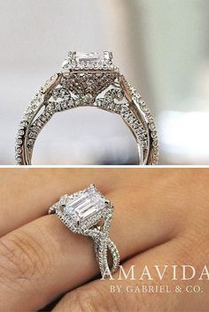 Eye-Catching Emerald Cut Engagement Rings ❤ See more: http://www.weddingforward.com/emerald-cut-engagement-rings/ #weddingforward #bride #bridal #wedding