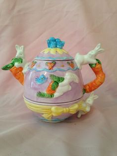 WCL China Tea Pot with Attached Bottom Egg Shaped Cup with Bunnies and Carrots - Easter Art Deco Kitsch
