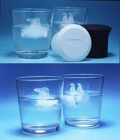 Polar bear and penguin ice cubes