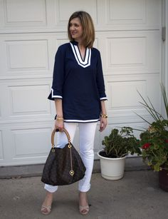 Tunic - Brooks Brothers  Jeans - Hudson  Shoes - Cole Haan  Handbag - Louis Vuitton  Bracelets - Forever 21, Gifted, Coach  Ring - Ann Taylor