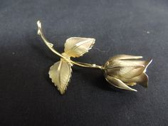 Vintage Giovanni Designer Brooch Pin Gold Rose Flower Realistic Textured Petals  #Giovanni