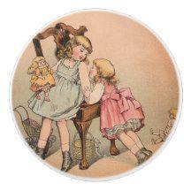 Vintage Children's Little Girls and Dolls Ceramic Knob