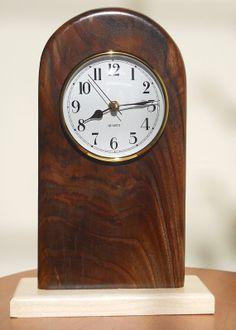 Mantel Clocks, walnut with maple base by woodbydami on Etsy