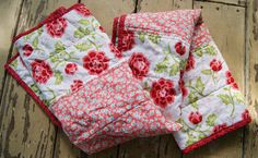 Modern Baby Quilt or Blanket / Red Pink Teal by QuirkyQuiltress