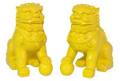 Pair of Foo Dog Book Ends, Yellow