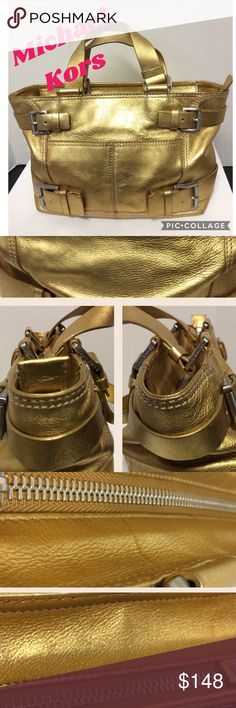 Michael Kors Gold Handbag For everyday use yellow gold handbag with top zip closure. Inside are two small open pockets on one side ( one with very tiny pen ink stain) and a zip closure pocket on the other side. Two very small line stains on top near zipper. All metal buckles with Michael Kors print. Used in very good condition. Michael Kors Bags Satchels