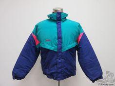 Vtg Columbia Radial Sleeve Full Zip Winter Ski Coat sz L Large Green Pink Snow #Columbia #BasicCoat #tcpkickz