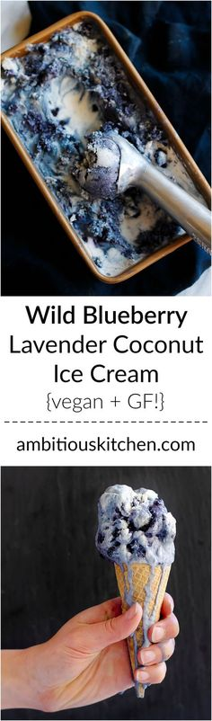 Beautiful vegan coconut ice cream with hints of lavender and swirls of wild blueberries. Creamy, coconutty and satisfying on a summer afternoon.