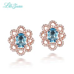 I&zuan Rose Gold Flower Shape Stud Earrings For Women 925 Sterling Silver Natural Topaz Blue Stone Elegant Earring Fine Jewelry #Affiliate