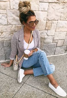 #spring #outfits white top, ripped jeans, slip on shoes, jacket