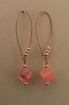 Cherry Quartz Cube Drop Earrings