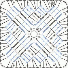 100 days crochet challenge, a granny a day, granny square, Crochet Motifs, Crochet Blocks, Granny Square Crochet Pattern, Crochet Mandala, Crochet Stitches Patterns, Crochet Diagram, Crochet Chart, Crochet Squares, Crochet Granny
