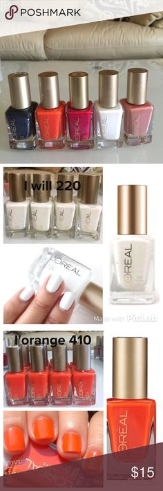 5 loreal nail polish NEW 5 loreal nail polish 570 stroke of midnight , 410 I'orange , 420 devil wears red , 220 I will and 320 mauvelous Loreal  Other