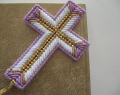 Plastic Canvas Cross Bookmark Pink by SashaMCrafts on Etsy