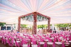 Stunning Summer Wedding In Alibaug With A Maharastrian Bride! Stunning Summer Wedding In Alibaug With A Maharastrian Bride! Desi Wedding Decor, Wedding Hall Decorations, Luxury Wedding Decor, Wedding Reception Backdrop, Marriage Decoration, Tent Decorations, Wedding Mandap, Wedding Ideas, Wedding Tables