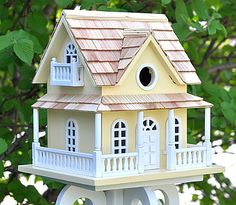 Home Bazaar Classic Cape May Cottage Bird House Yellow, Decorative ...