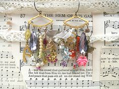 upcycle jewelry earrings assemblage mismatch by lilyofthevally