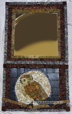 stone mirror with owl, size 46x80cm