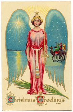 Click on Image to Enlarge This is a really pretty Vintage Christmas Image! This one shows an Angel with huge Wings! I love that the Wings have a Starry Scene inside of them. I think it would be fun to cut out the wings and place your own scene behind!