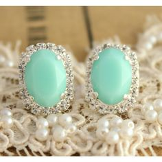 Mint green Crystal big oval stud earring - silver plated post earrings... ($44) ❤ liked on Polyvore