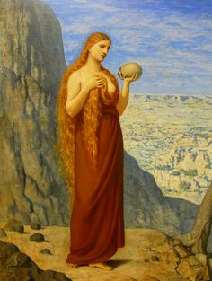 """""""Mary Magdalene in the Desert"""" by Pierre Puvis de Chavannes, 1869  Art Experience NYC  www.artexperiencenyc.com Note the RED HAIR.."""