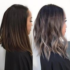 Popular Short Wavy Hairstyles 2019 Ash-Gray-Ombre-Hair Popular Short Wavy Hairstyles 2019 Related hottest balayage hair color ideas for brunettes in 2017 860 Hairstyles Featuring Dark Brown Hair with Looks with Caramel Highlights. Grey Brown Hair, Brown Hair Colors, Dark Ash Brown Hair, Grey Blonde, Black Hair, Hair Color Ideas For Dark Hair, Dark Ash Blonde Hair, Short Wavy Hair, Short Hair Styles