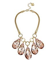 Betsey Johnson Goldtone Large Faceted Stone Frontal Necklace