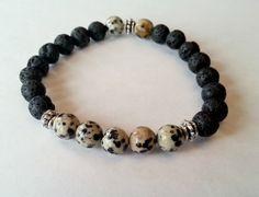 Men's Jasper and Lava Rock Stretch Bracelet  by MissGawdysJewelry