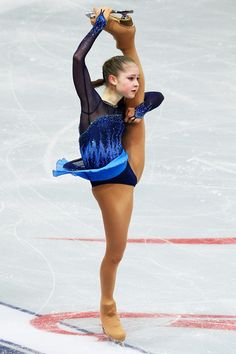 Julia Lipnitskaya of Russia  Ladies Short Program Rostelecom Cup  2013 Blue Figure Skating / Ice Skating dress inspiration for Sk8 Gr8 Designs.