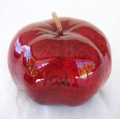 Gourd Art High Gloss Juicy Red Apple by neadesigns on Etsy