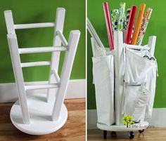 25 Genius Craft Ideas | Turn a stool into a craft and gift wrap organizer.