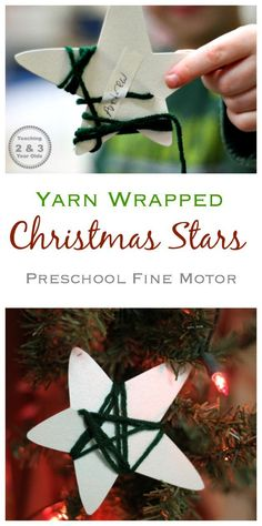 Add some fine motor to your Preschooler's Christmas with these fun yarn wrapped stars! These yarn-wrapped stars are a fun way to strengthen preschool fine motor activities during the Christmas season. Super simple, only requiring 2 items! Christmas Art Projects, Christmas Crafts For Kids, Christmas Themes, Holiday Crafts, Homemade Christmas, Christmas Yarn, Toddler Christmas, Christmas Wrapping, Christmas Activities For Toddlers