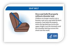 Moms and Dads – Making sure the seat belt properly fits your child can be a lifesaver. Children no longer need a booster seat once seat belts fit them properly. For older children and adults, seat belt use reduces the risk for death and serious injury by approximately half. If the seat belt lays across your child's stomach or neck your child still needs to use a booster seat.