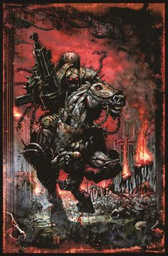 Exclusive Simon Bisley art from Four Horsemen of the Apocalypse!  This is the War horseman.