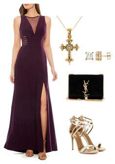 Purple Dress by rebecca-shosey on Polyvore featuring R & M Richards, Aquazzura, Yves Saint Laurent and Allurez