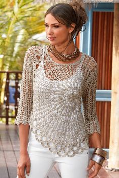 Quite a few nice crochet tops: Can translate as well. Crochetemoda: mayo 2013