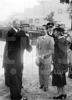 Joseph Goebbels with Magda Goebbels and Franz von Papen at the horse races near Berlin, 1937