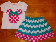 Disney Mickey Minnie Mouse Chevron Skirt Outfit Size 12M 18m 24m 2 3 4 5 6 7 8 9 10 on Etsy, $39.95