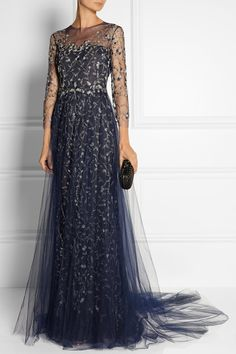 #Marchesa Embellished tulle gown #dress