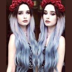 dark hair to pastel color ombre styles with flowers crown